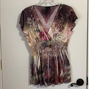 Embellished Banded Waist V Neck Top Blouse